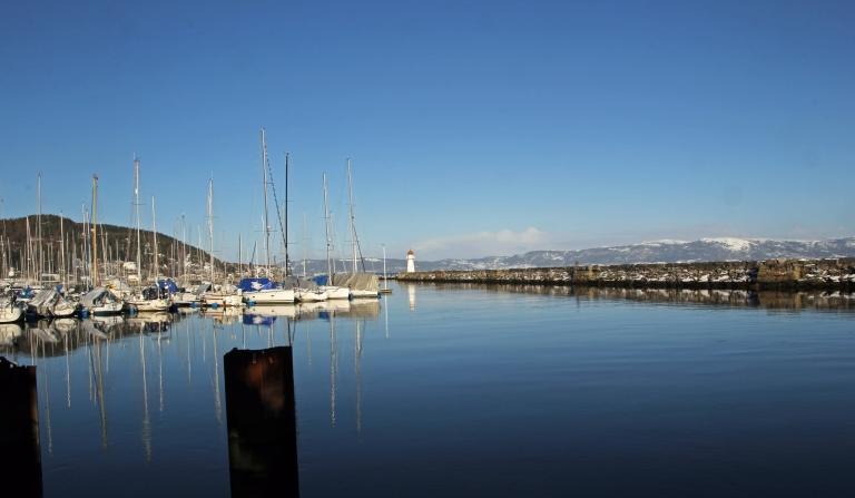 view towards marina and lighthouse