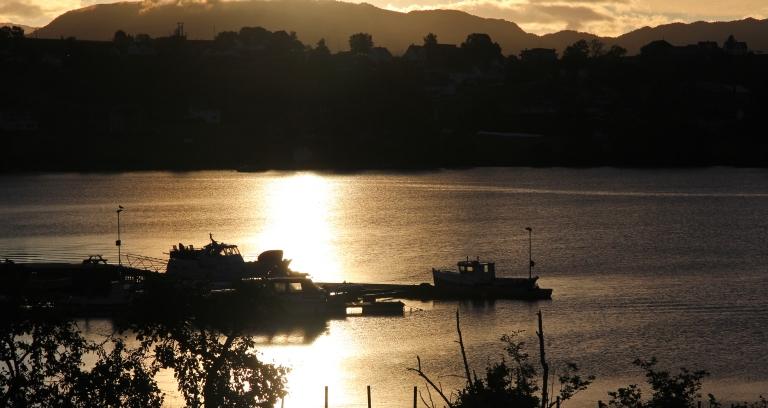 boat in the morning sun