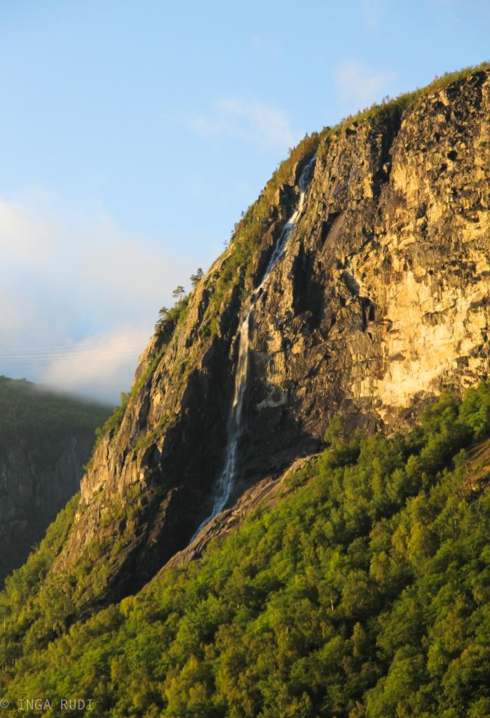 waterfall evening light