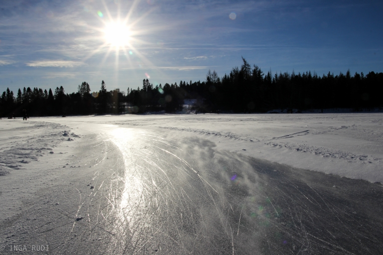 windy and sunny on the ice