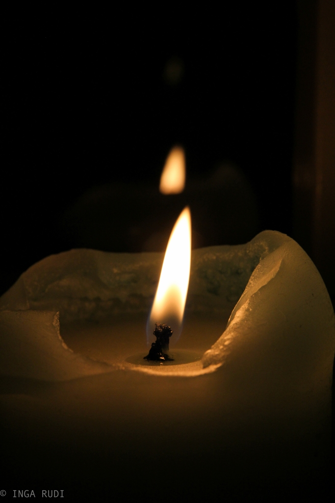 candle reflected