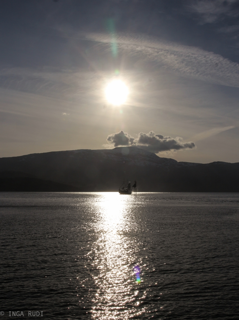 ferry in the evening sun
